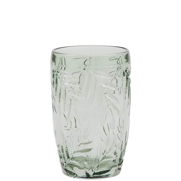 trinkglas grün palmenmuster